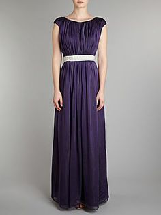 JS Collections Beaded waist chiffon dress