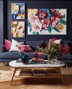 Creative Decor, Buy Art, Deco Salon Design, Oval Coffee Tables, Floral Artwork, Artwork Online, Living Room Lounge, Sofa Colors, Elements Of Design