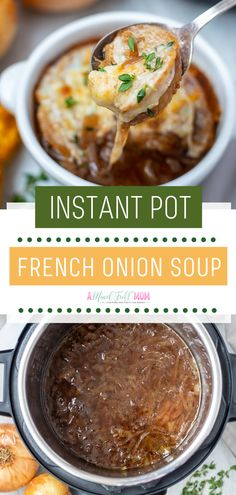 Instant Pot French Onion Soup is a simple hearty winter recipe you will love! Full of earthy, nutty flavors, and perfectly caramelized onions, this French Onion Soup makes the best food for the cold weather! Add this to your dinner ideas for cold nights! Onion Soup Recipes, Easy Soup Recipes, Easy Healthy Recipes, Real Food Recipes, Easy Meals, Healthy Food, Recipes Dinner, Best Onion Soup Recipe, Cheap Recipes