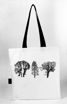 Tote bag with our own hand screen printed design. Bag dimensions: ca cm. Strap: ca 63 cm, strengthened with metal rivets. Printed Tote Bags, Canvas Tote Bags, Printed Cotton, Cotton Canvas, Screen Printing, Reusable Tote Bags, Prints, Trees, Stuff To Buy