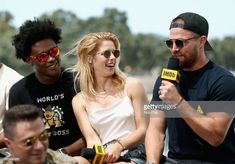 Stephen Amell, Colton Haynes, Echo Kellum, and Emily Bett Rickards at an event for Arrow Colton Haynes, Emily Bett Rickards, Stephen Amell, San Diego Comic Con, Supergirl, Stock Photos, Actors, People, Flash Arrow