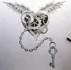 heart wings key tattoo design by https://www.facebook.com/cornea.catalin