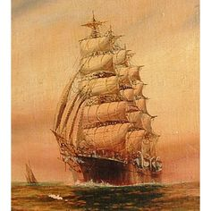 Vintage tall ship painting.