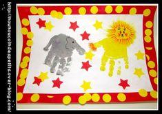 .. Tableau cirque éléphant et lion empreinte de main ..
