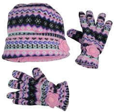 19a46bf6219 N Ice Caps Big Girls 7-10 Years Fair Isle Print Hat and Gloves Amazing Xmas  Gift