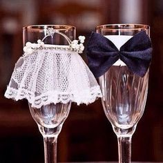 Groom & bride champaign glasses
