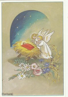 private swap with Mindee Christmas Nativity, Very Merry Christmas, Christmas Angels, Christmas Greetings, Kids Christmas, Vintage Christmas Cards, Retro Christmas, Vintage Holiday, Christmas Illustration