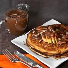 Butter Pecan Pancakes. Very yummy!! Facebook friends check out my boards!!