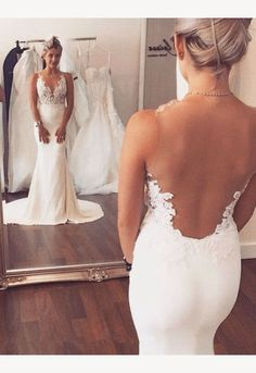 Charming Mermaid Wedding Dresses,Long See Through Wedding Dresses,Wedding Dresses