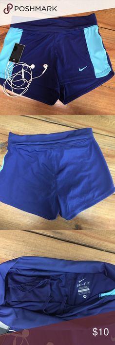 Nike workout shorts EUC blue Nike Dri-Fit shorts. Fold over waist, internal pocket and drawstring. Nike Shorts