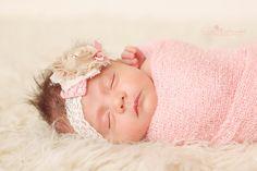 Vintage Inspired Newborn Headband-Baby by AvryCoutureCreations