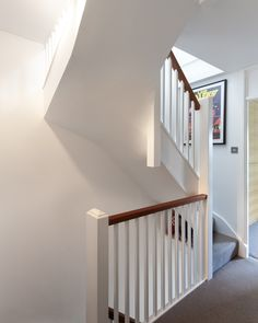 Blackheath house modern corridor, hallway & stairs by ape architecture & design ltd. Loft Staircase, House Stairs, Staircase Design, Attic Stairs, Staircases, Carpet Staircase, Staircase Railings, Loft Conversion Plans, Loft Conversion Stairs