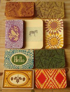 Block printed notebook covers