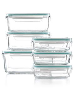 Martha Stewart Collection 12 Piece Glass Food Storage Container Set - Kitchen Gadgets - Kitchen - Macy's :: Love glass storage containers, easier to heat food up in, wash, etc. and they last forever.