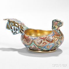 """Fabergé .916 Silver-gilt and Cloisonné-enameled Kovsh, Moscow, 1908-17, Feodor Rückert, workmaster, 88 Kokoshnik standard, marked in """"K. Fabergé"""" with the Imperial Warrant in incuse lettering, also bearing later Russian assay marks, and rubbed mark possibly """"M Yu"""" in Cyrillic."""