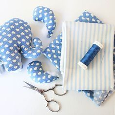 ! #elephant #peluche #doudou #handmade #fluffy #faitmain #madeinfrance #bleu #coeurs #couture #cousette #sewing