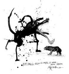 Legendary Cartoonist Ralph Steadman's Inkblot Dog Drawings | Brain Pickings