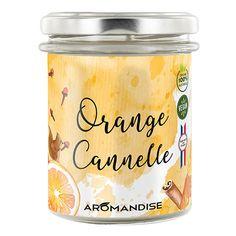 Bougie Orange Cannelle Bio & Vegan Aromandise Bio, Vegan, Orange, Desserts, Products, Massage Oil, Cinnamon, Candles, Gift Ideas