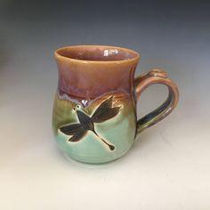 Pottery, Dragonfly Mug, Coffee Cup, Stoneware Tea Mug, Handmade mug. by ClayByNaturePottery on Etsy