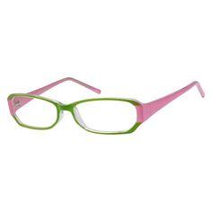 Pink and green eyeglass frames