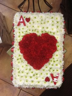 Ace of hearts Funeral Floral Arrangements, Christmas Flower Arrangements, Gerbera, Funeral Sprays, Casket Sprays, Cemetery Decorations, Funeral Tributes, Memorial Flowers, Sympathy Flowers