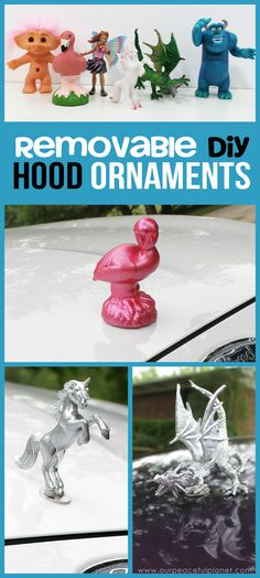 DIY Cars Hacks : Illustration Description If you like girly car accessories you're gonna love these removable DIY hood ornaments made from small toys & other light weight objects. Make a whole set! Maserati Ghibli, Aston Martin Vanquish, Bmw I8, Rolls Royce, Design Autos, Princess Car, Porsche 718, Hippie Car, Inside Car