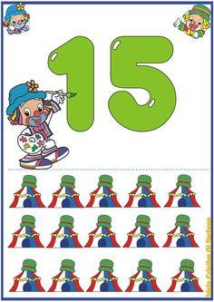 Matematik öğretimi için1-20 sayı kartları - Okul-Ev Etkinlikleri