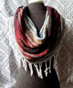 Burgundy, Olive and Light Blue Mexican Blanket Large Cowl Scarf With Fringe- Free Shipping to Continental US $20.00
