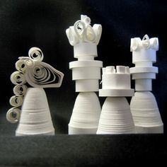 Quilled paper chess set hand made by SumireDesign on Etsy