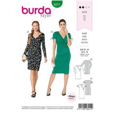 Misses Wrap Look Dress Burda Sewing Pattern 6211. Size 8-18. Burda Sewing Patterns, Dress Patterns, Dressmaking Fabric, Fashion Sewing, Pattern Fashion, Knit Dress, Dresses For Work, Wrap Dresses, Easy