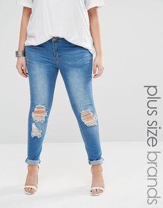 Boohoo Plus Distressed Skinny Jean