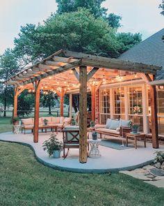Patio Diy, Backyard Patio Designs, Pergola Patio, Backyard Landscaping, Patio Ideas, Modern Pergola, Landscaping Ideas, Backyard Ideas, Steep Backyard