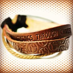 Baseball Phil 4:13 leather bracelet