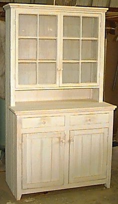 Amish Primitive Pine Corner Kitchen Hutch | Primitives, Pine And Kitchens