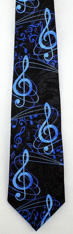New Playing The Blues Mens Necktie Musical Notes G Clef Novelty Music Neck Tie #StevenHarris #NeckTie