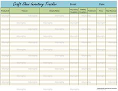 Craft Show Sales / Inventory Tracker  - Printable PDF (INSTANT DOWNLOAD). $3.50, via Etsy.