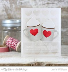 Hug In a Mug, Hot Cocoa Cup Die-namics, Background Hearts Stencil - Laurie Willison   #mftstamps