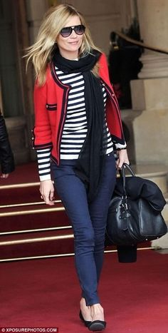Kate Moss in Striped Top, Scarf, and Red Cardigan