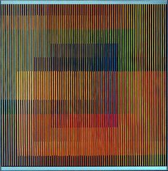 Carlos Cruz-Diez - thin strips of cardboard painted a differnt color on seach side and glued together making the image change as you walk past it.  www.artexperiencenyc.com