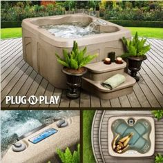 Plug and Play Hot Tub for the patio or deck.  Fill it with water, plug it in, and you are ready to go.  Very Nice.  #garden #home decor #outdoors