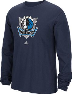 Dallas Mavericks Navy Primary Logo Long Sleeve Tee Shirt by Adidas $27.95