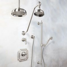 Vintage Pressure Balance Shower System - Dual Shower Heads - Luxury Hand Shower - Lever Handle
