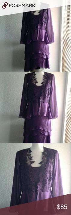 S.L  FASHIONS  2 PIECE DRESS S.L  FASHIONS  2 PIECE DRESS   Super Elegant   Perfect for a wedding  or church event   New without Tag   Color Plum  Beautiful Details in the jacket and neckline of the dress S.L. Fashions Dresses Midi