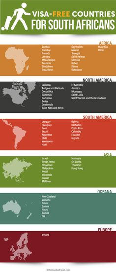 Visa-free travel for South Africans: here's a list of countries where your green mamba counts [infographic] Tired of paying piles of cash to get into a country that will boot you out in 30 days? Here's a list of countries with more manners. http://www.thesouthafrican.com/visa-free-travel-for-south-africans-heres-a-list-of-countries-where-your-green-mamba-counts-infographic/