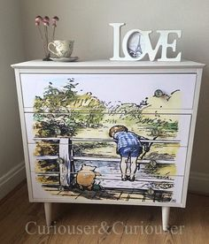 Upcycled and Decoupaged Chest of Drawers | Winnie the Pooh | Artcycled Drawer Unit | Upcycled Childrens Rooms | www.upcycledhour.co.uk