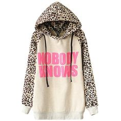 Sheinside Women's Nobody Knows Print Hooded Leopard Sweatshirt ($16) ❤ liked on Polyvore featuring tops, hoodies, sweatshirts, leopard sweatshirt, sweat shirts, leopard print sweatshirt, pink sweat shirt and pink top