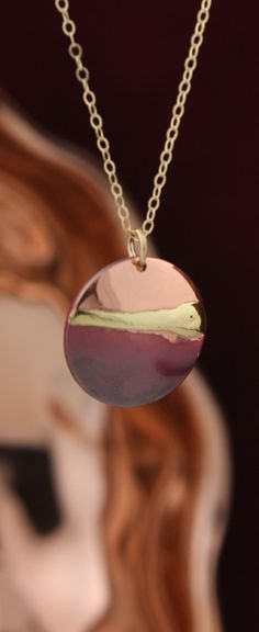 Copper and Brass Sunset Necklace with 14K Gold Fill Chain, Made in USA