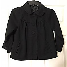 Darling cropped 3qtr sleeve swing jacket! Fully lined with Peter Pan collar and 2 side slit pockets- beautiful drape! Mossimo Supply Co Jackets & Coats Blazers