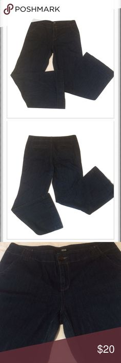 """a.n.a. Jeans """"A New Approach"""" Dark blue in color. 99% cotton and 1% spandex for that comfy fit. * there is some minor wear on  bottom of pants and crotch area. Measurements approximately as follows: inseam 30"""" and waist 34"""". a.n.a Jeans Flare & Wide Leg"""
