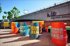 Southbank Centre celebrates the 60th anniversary of the Festival of Britain. Oil drum seating for the  Dishoom Chowpatty Beach pop-up, between the Purcell Room and Waterloo Bridge.